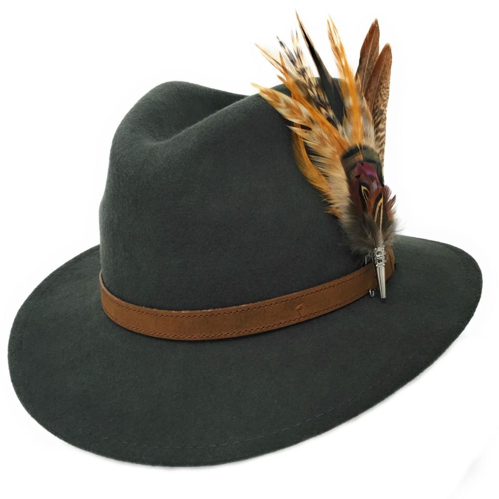 473e54bb2 Womens Wool Fedora Hat with Leather Belt Trim and Country Feather ...